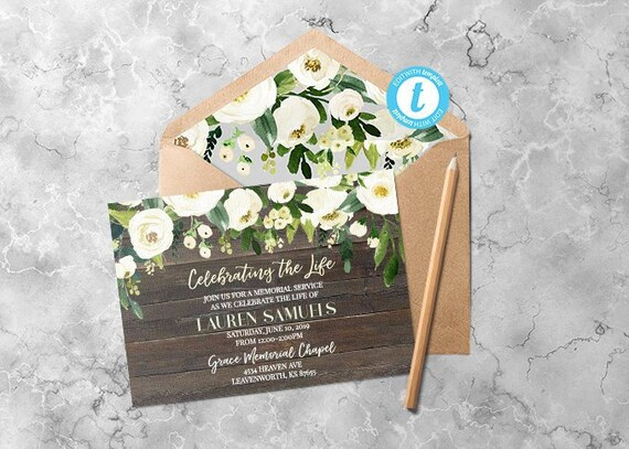 Funeral Invitation Funeral Announcement Funeral Template Etsy