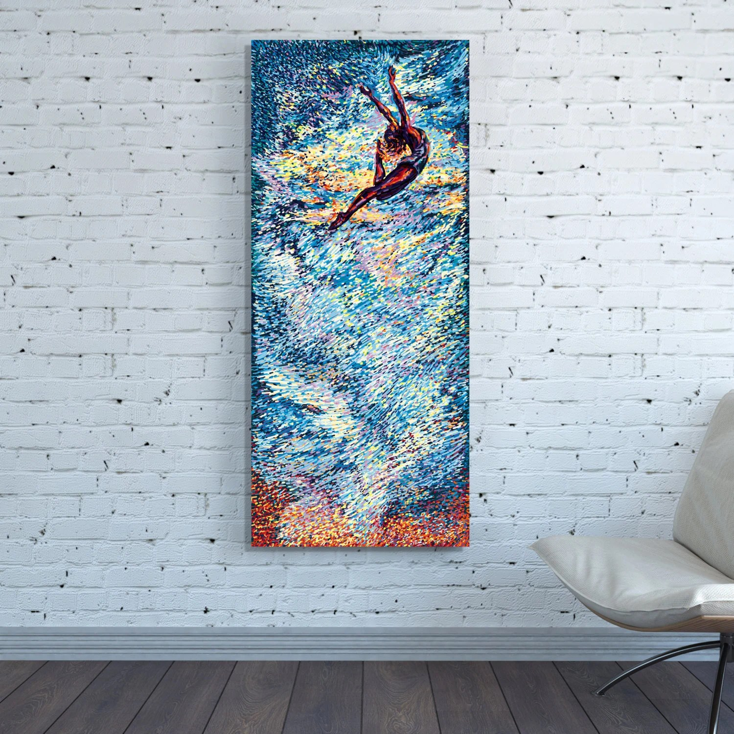 Large Vertical Paintings Canvas Print Art Vertical Huge Large Blue Abstract Wall