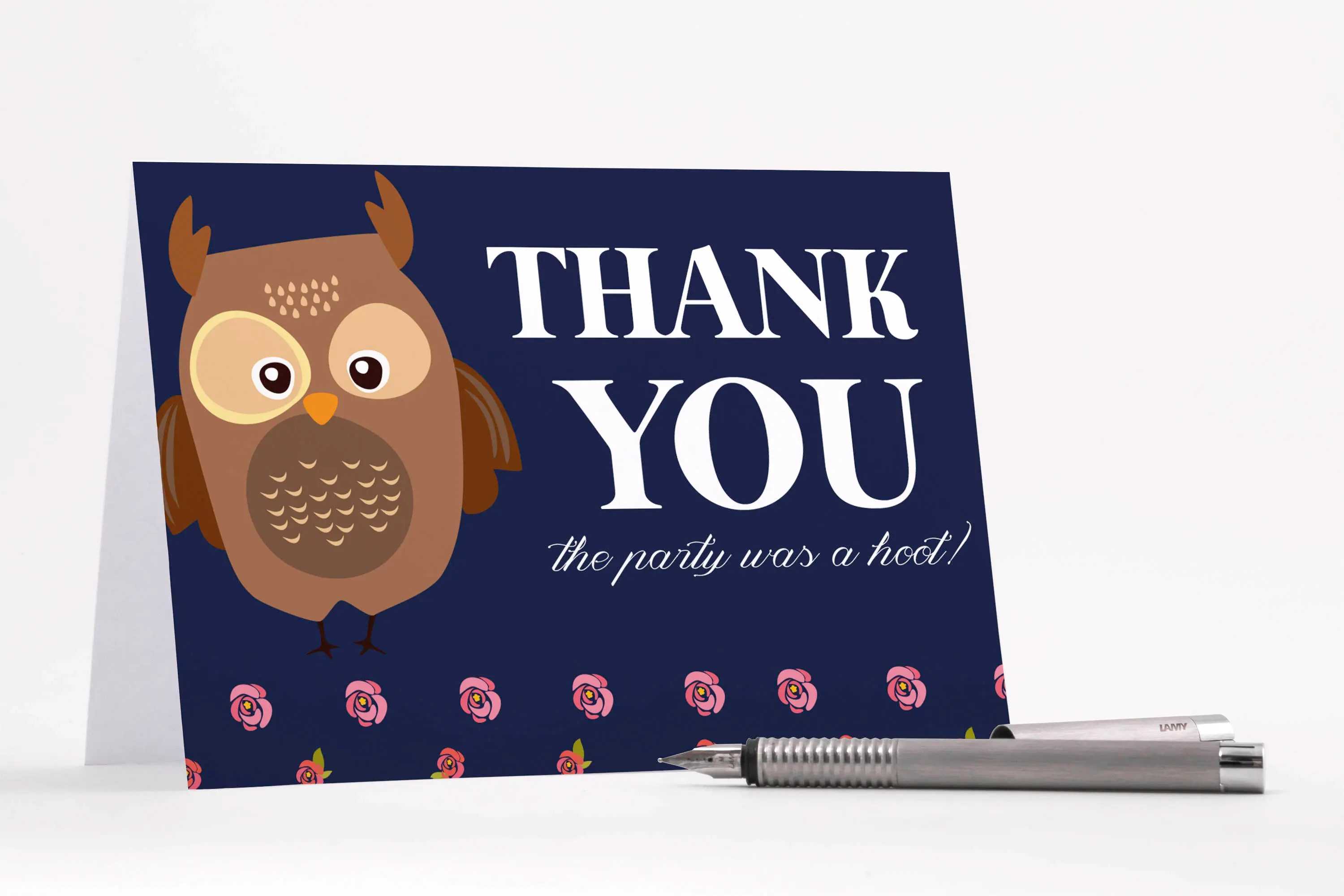 Owl Thank You Cards Owl Baby Shower Thank You Card Navy and Pink