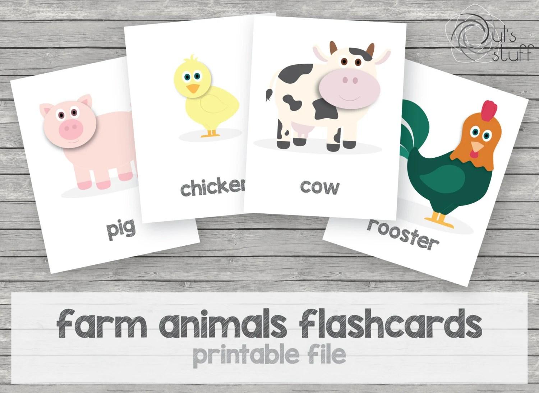 Items similar to Printable kid\u0027s farm animals flashcards, english on