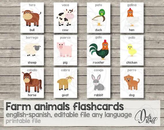 Printable kids farm animals flash cards english and spanish Etsy
