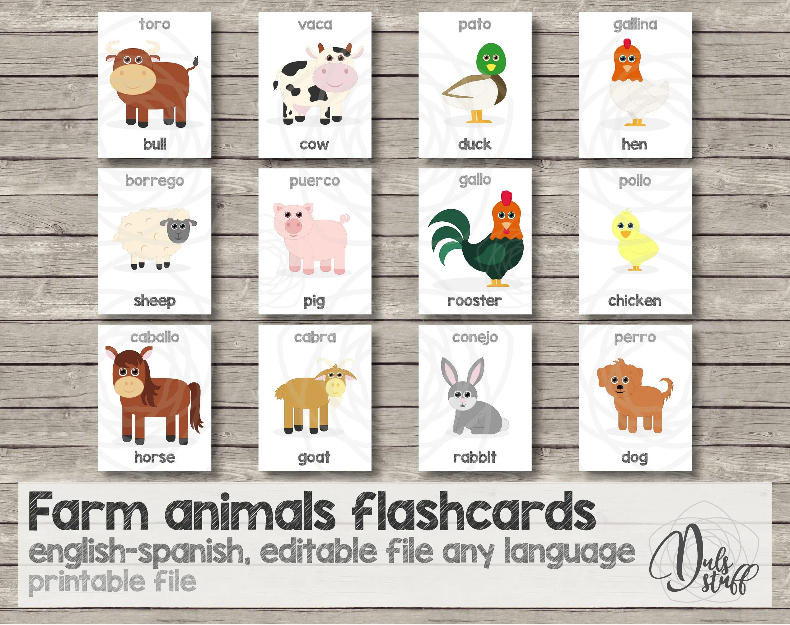 Printable kids farm animals flash cards english and spanish Etsy