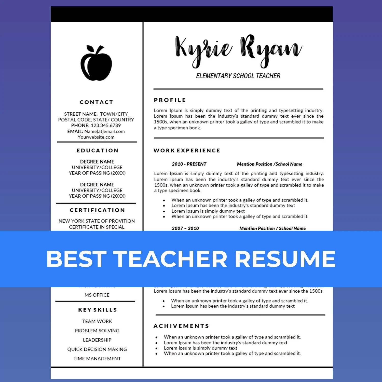 Teacher Resume Template Word / Cover Letter Template Teaching Etsy