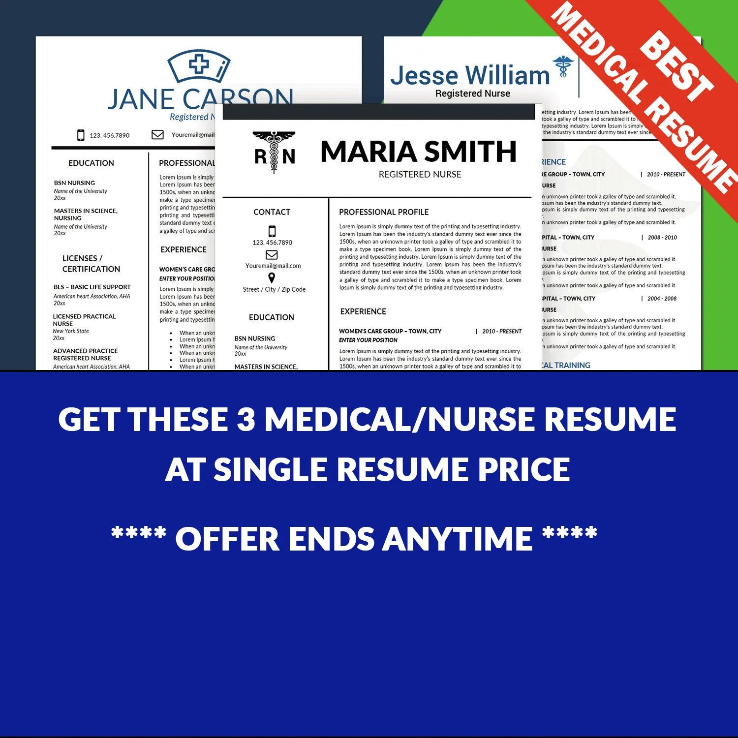 Nurse Resume Template Medical Resume Template Nursing CV Etsy