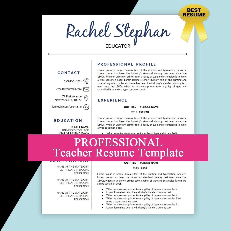 Teacher Resume Template Teaching Resume Elementary Teacher Etsy