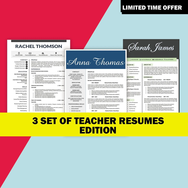 Teaching Resume Template Teaching CV Teacher Resumes Etsy