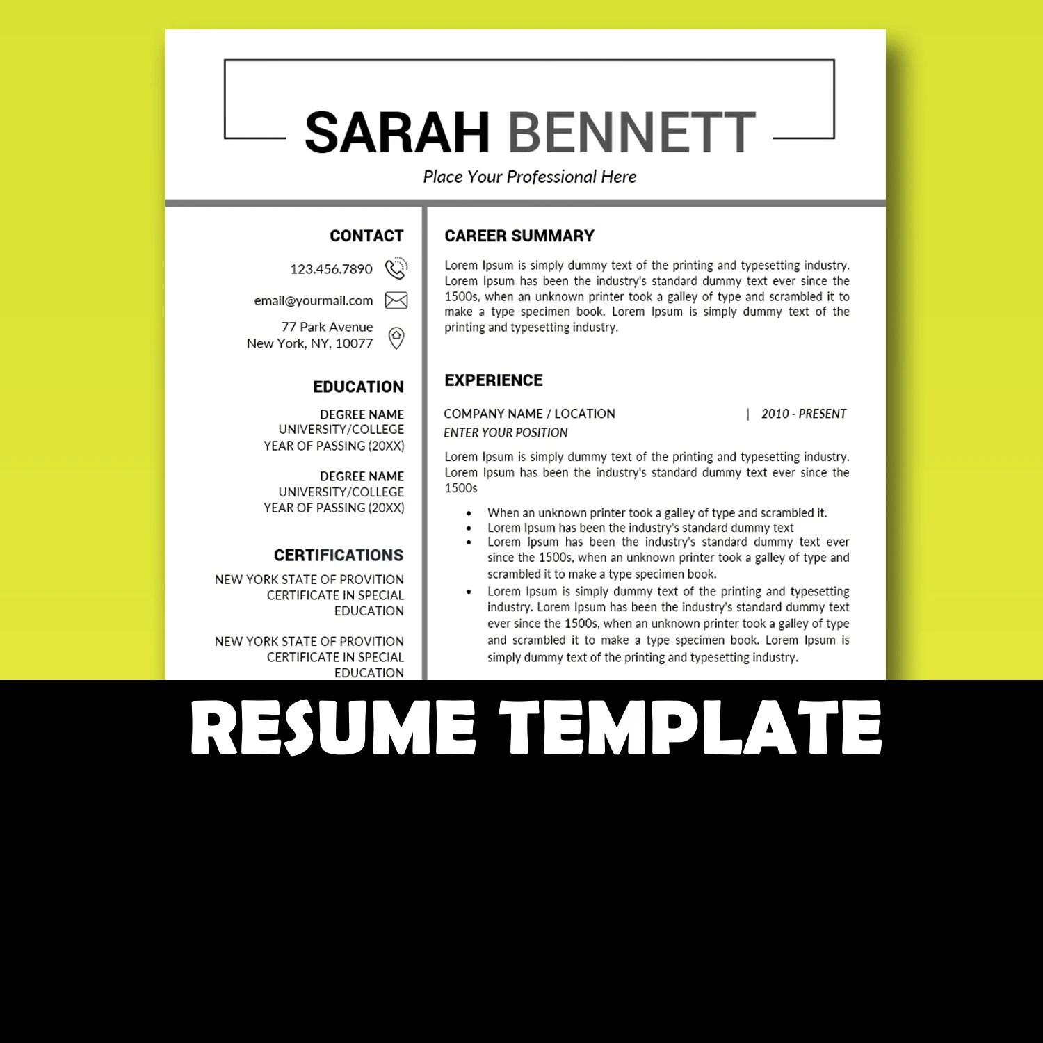 Job References Template / Marketing Resume Minimalist Resume Etsy
