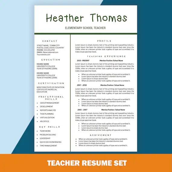 Elementary Teacher Resume CV Templates Teaching Resume Cover Etsy
