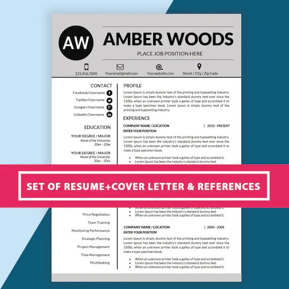 Simple Resume Template Ms Word Professional CV Template Etsy
