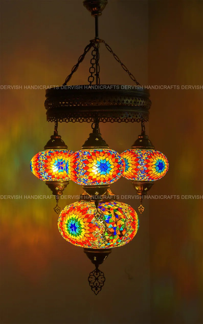 Lighting Fixtures Moroccan Light Mosaic Chandelier Turkish Lights Pendant Lighting Fixtures Turkish Lamp Moroccan Lamp Ceiling Lamp Chandelier Lighting