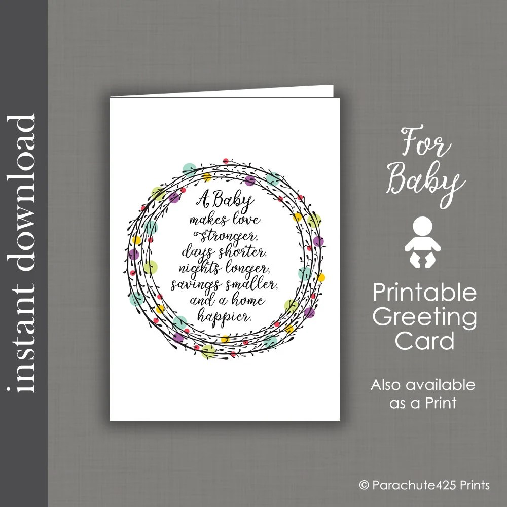 Baby Card Printable baby shower card baby congratulation Etsy