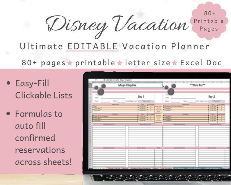 Editable Disney Planner for Excel Disney World Planner Rose Etsy
