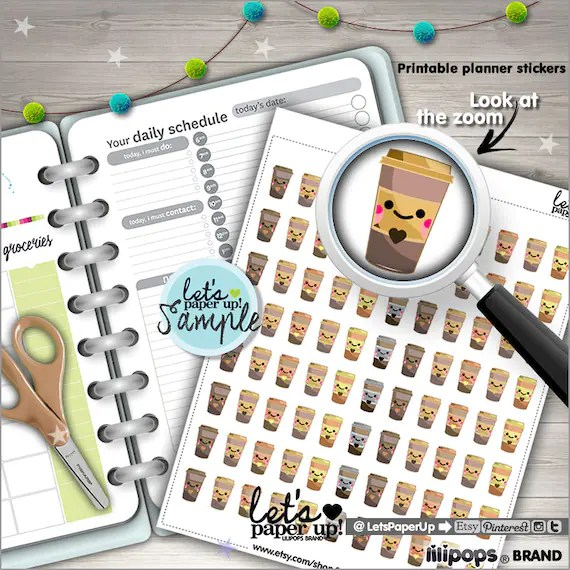 Coffee Stickers, Printable Planner Stickers, Coffee Cup Stickers