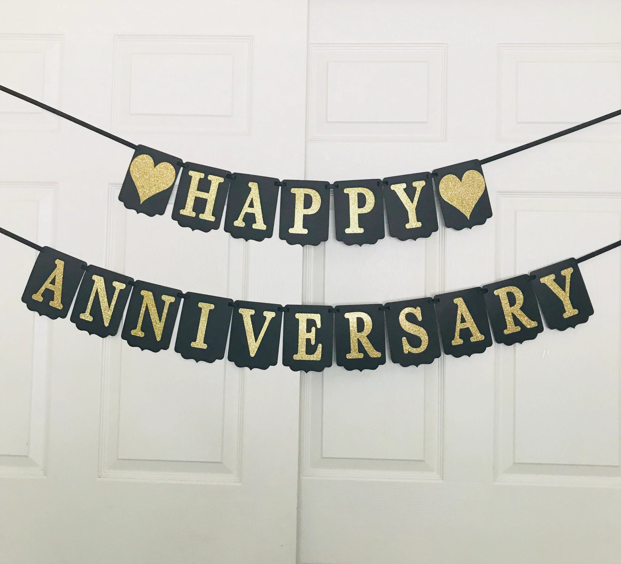 Black and Gold Happy Anniversary Banner Happy Anniversary Etsy