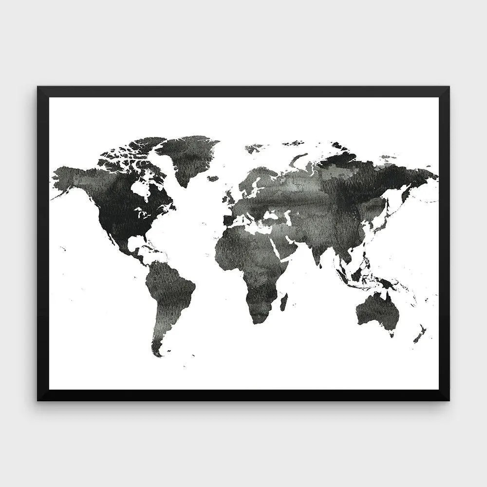 World Map Poster Water Color World Map World Map Print Etsy