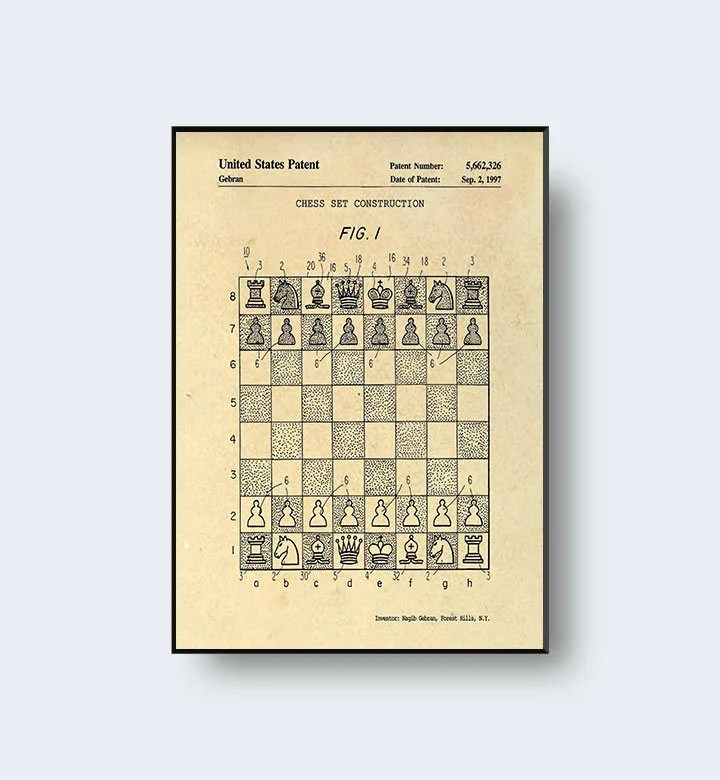 Vintage Chess Board Patent Print Chess Print 1997 Chess Etsy