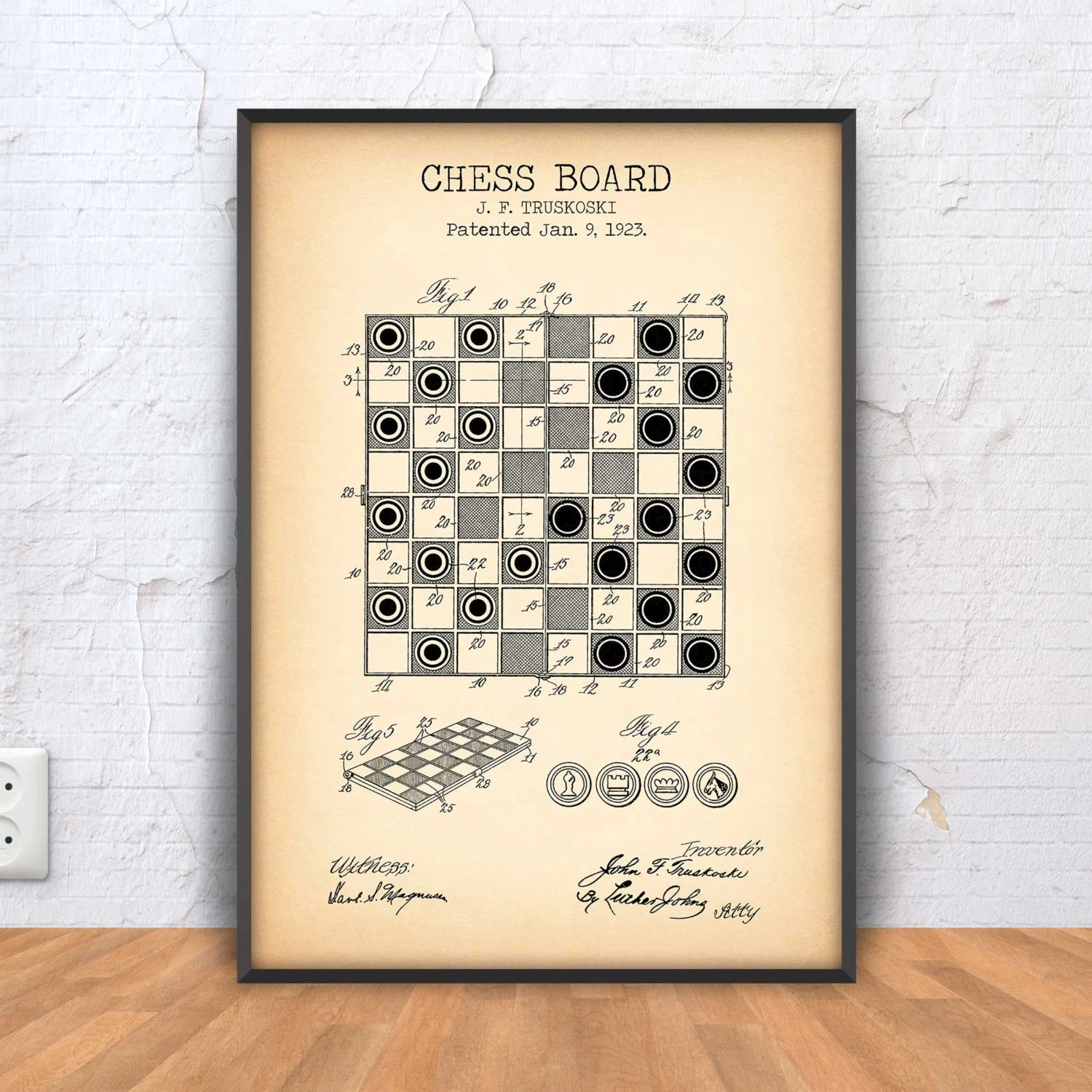 CHESS BOARD poster chess patent print chess printable chess Etsy