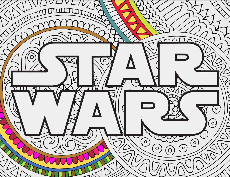 Star Wars Coloring Pages Star Wars Logo Printable Coloring Etsy