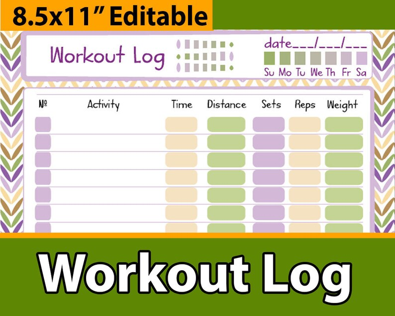 Workout tracker planner daily workout log exercise journal Etsy