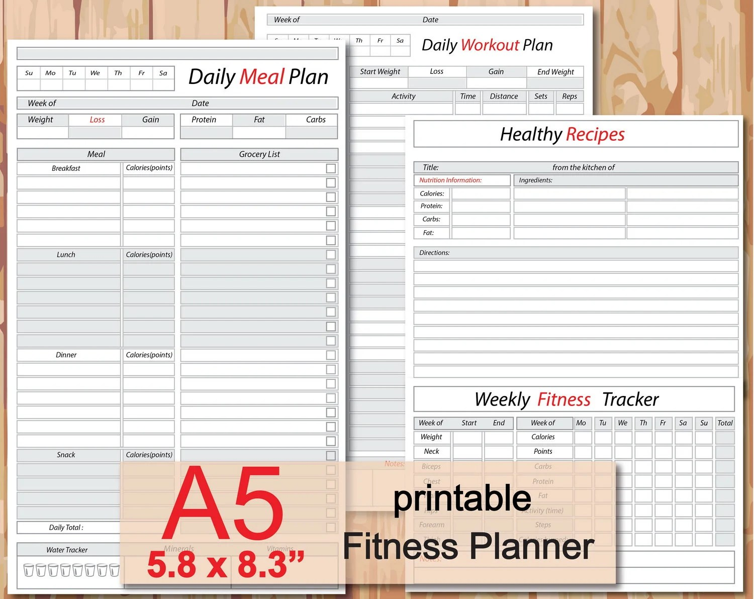 Food track printable meal planner weight loss journal Etsy
