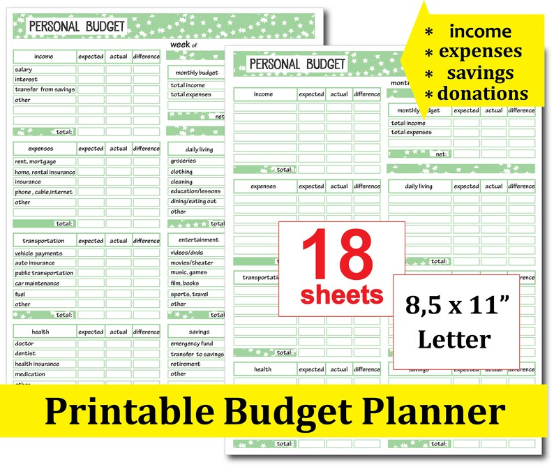Printable Monthly Budget Template Financial Planner Bill Etsy