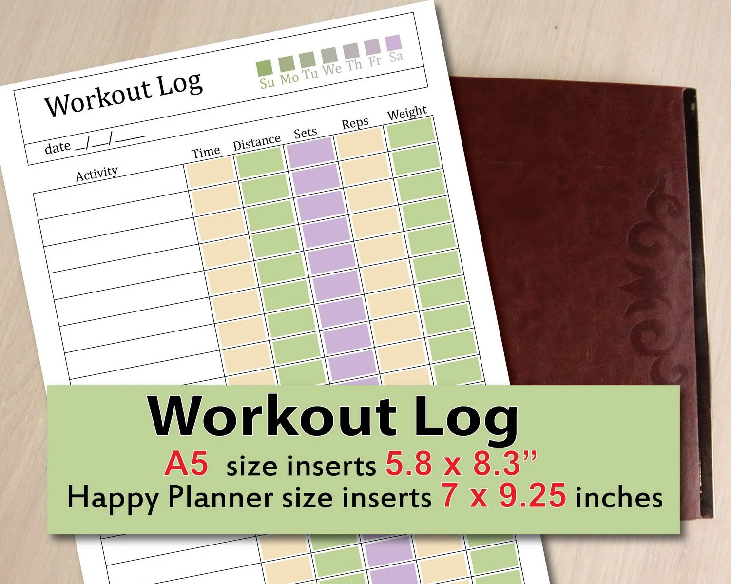 Workout Tracker Exercise journal Workout log Fitness Etsy