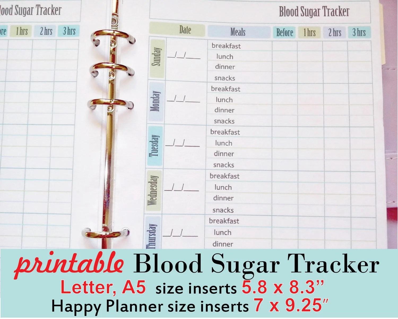 Blood Sugar Tracker Printable Diabetes Logsheets Printable Etsy