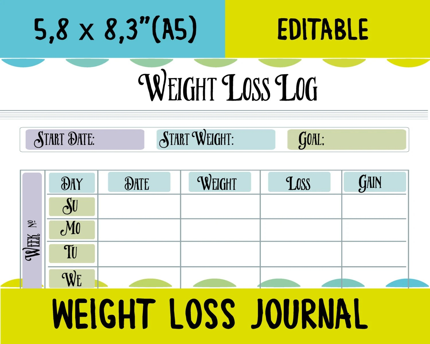 Weight Loss Track Printable Weight Loss Log Fitness Tracker A5