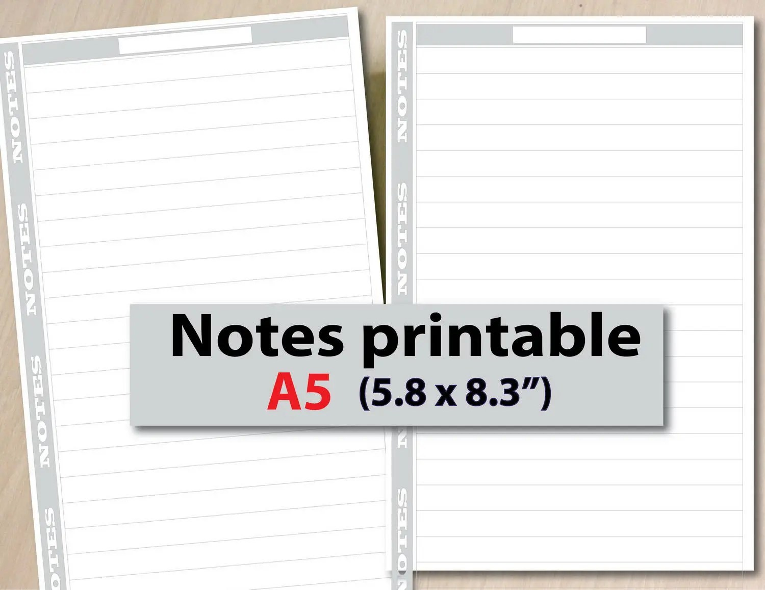 Notes Inserts Printable Lined Paper Printable A5 inserts A5 Etsy