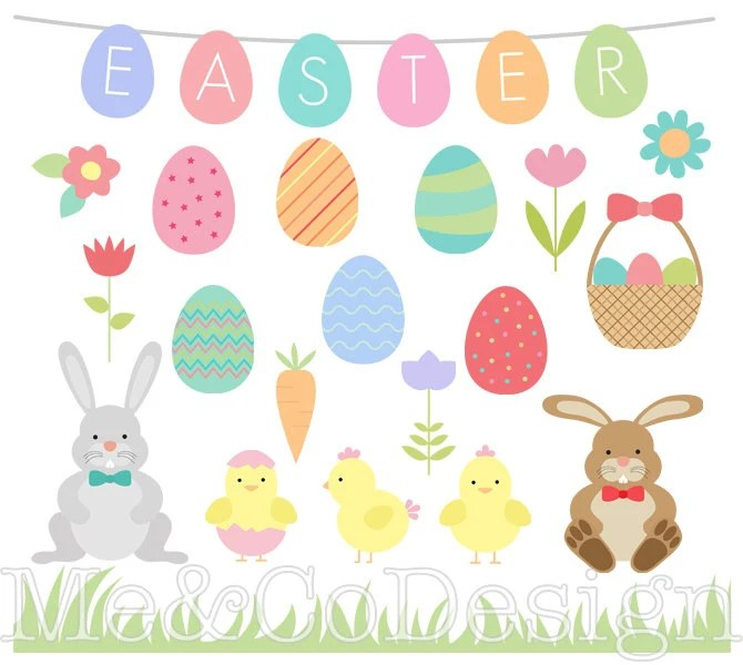 Easter Clipart Easter Eggs and Borders Clipart Fun Holiday Etsy