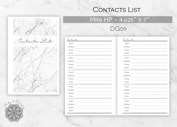 Printable Contact List Insert ITEM DG09 Printable Planner Etsy