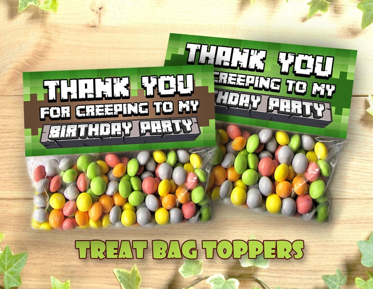 Mine Themed Treat Bag Topper Printable Thank You for Creeping Etsy