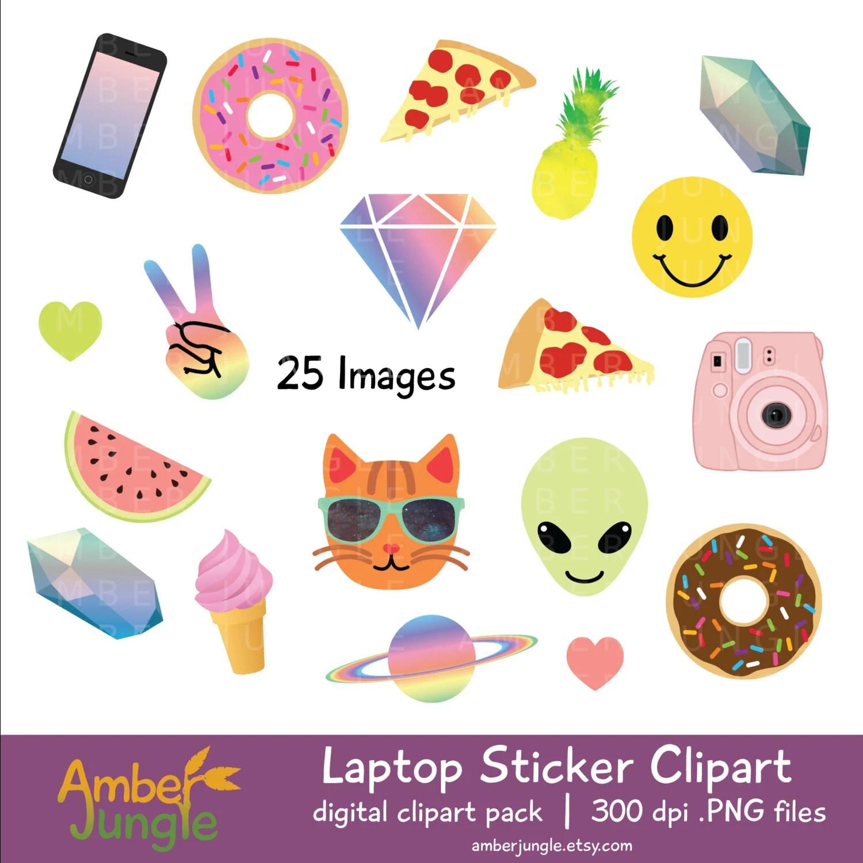 Laptop Stickers Clipart Blogger Girl Tumblr Clip Art Blog Etsy