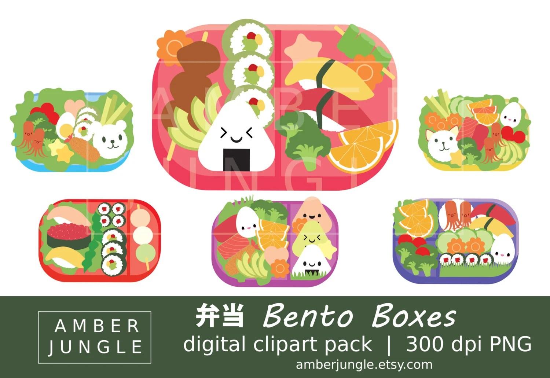 Bento Box Clipart Kawaii Bento Clip Art for Planner Etsy