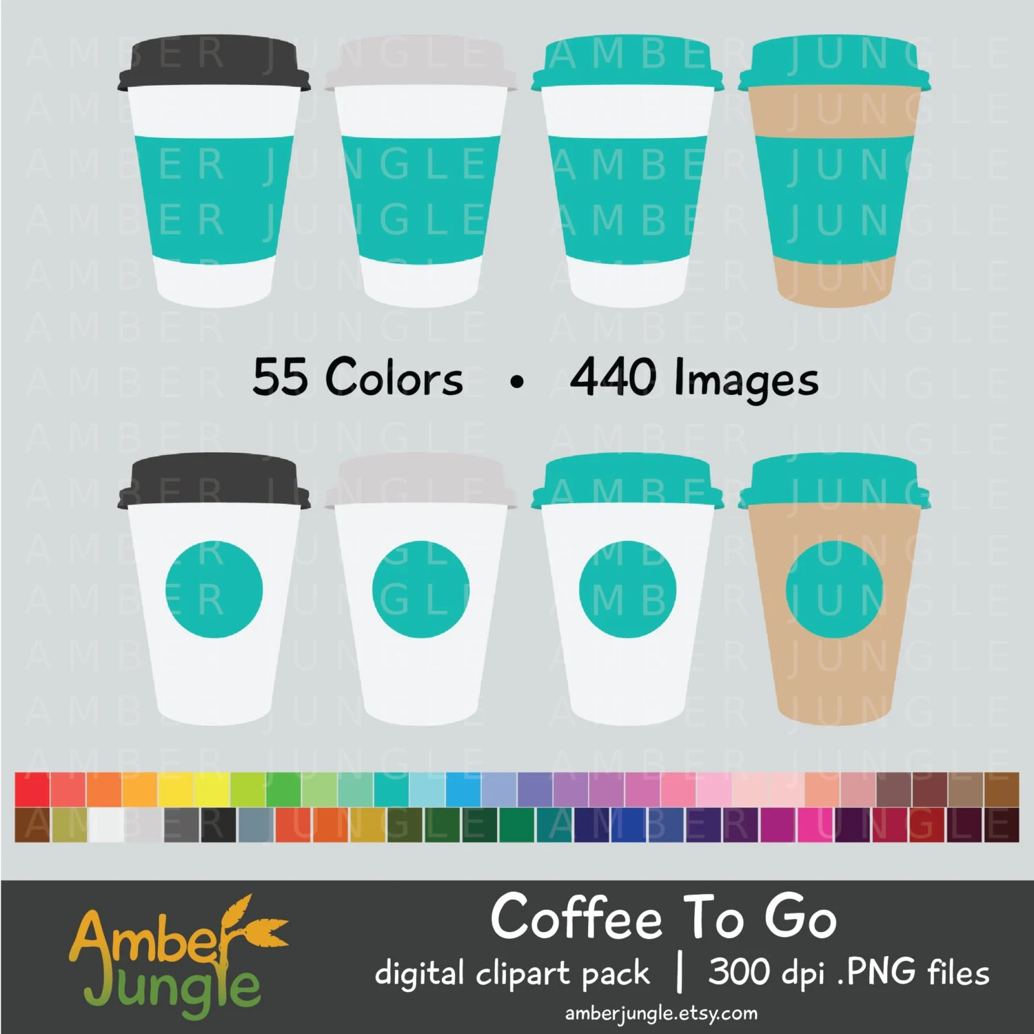 Coffee To Go Clipart Coffee Cup To Go Cup Clip Art for Etsy