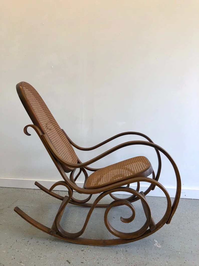 Thonet Jobs Gorgeous Vintage Bentwood Rocking Chair In The Style Of Thonet