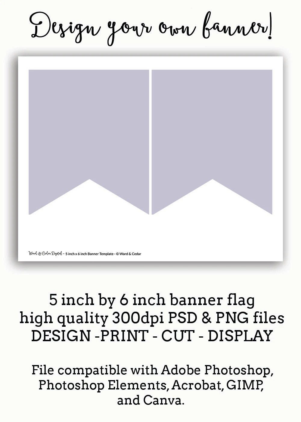5 x 6 Bunting Flag Banner Template Pennant INSTANT DOWNLOAD Etsy