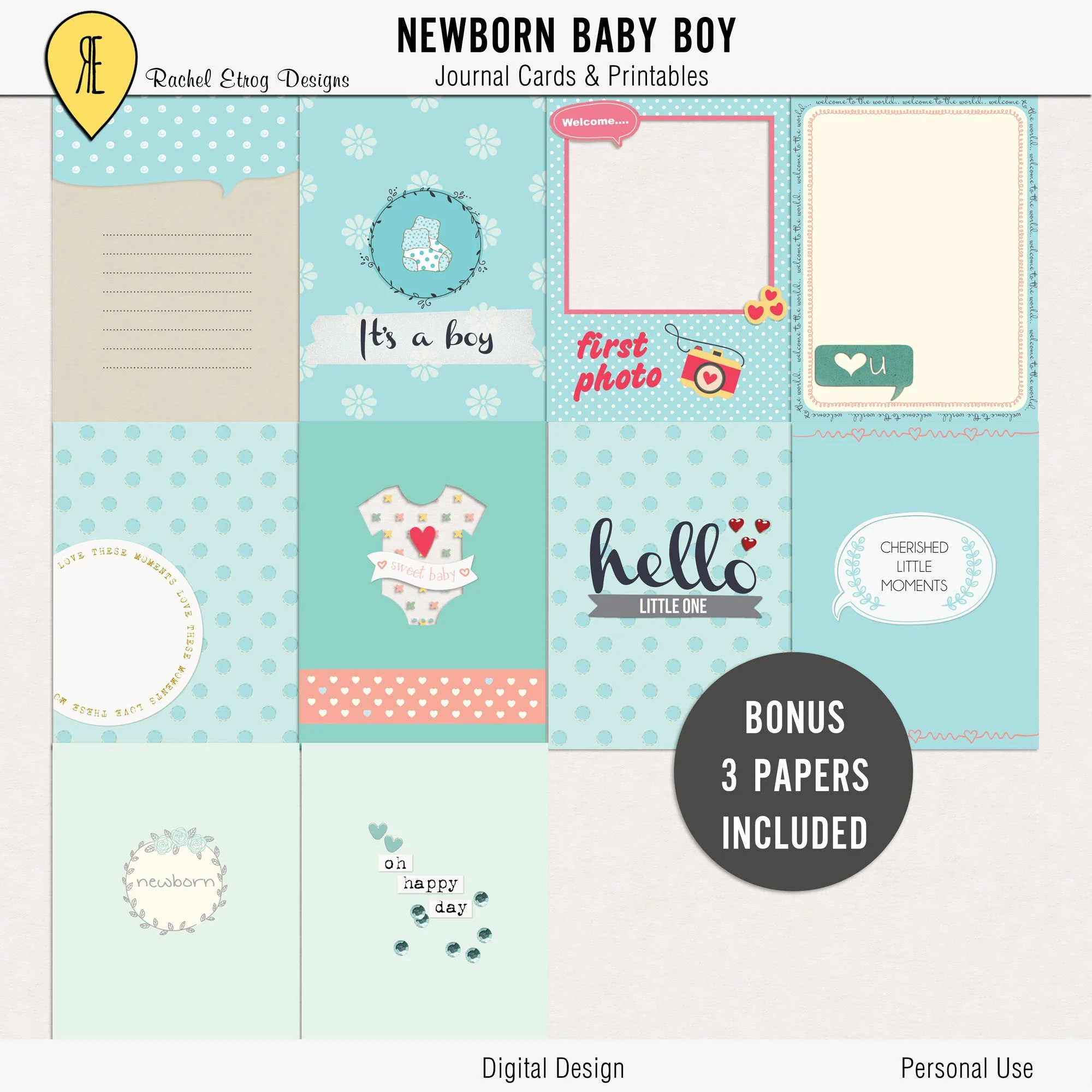 Newborn baby boy Journal Cards Instant Download Printable Etsy