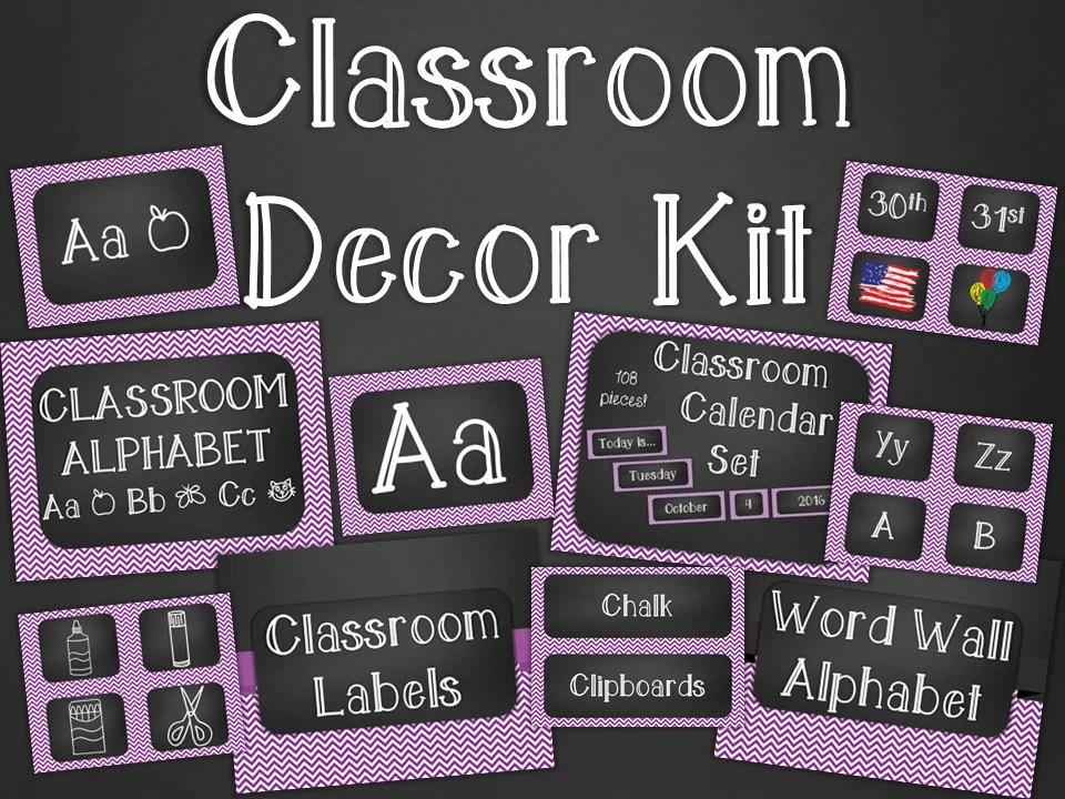 Chalkboard Classroom Decor Kit Purple Chevron Printable Etsy