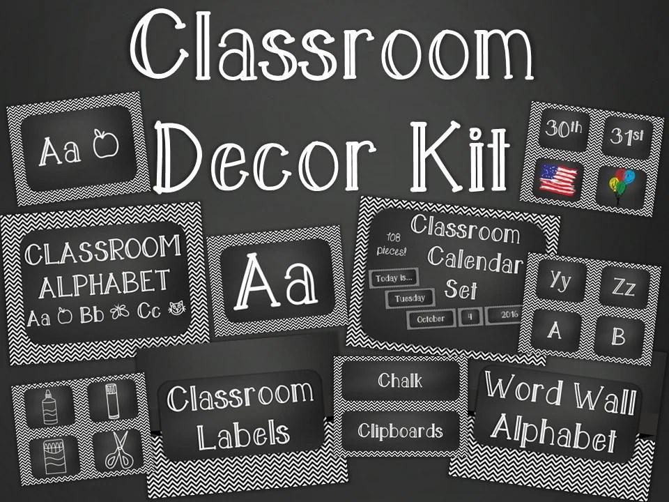 Chalkboard Classroom Decor Kit Black Chevron Printable Etsy