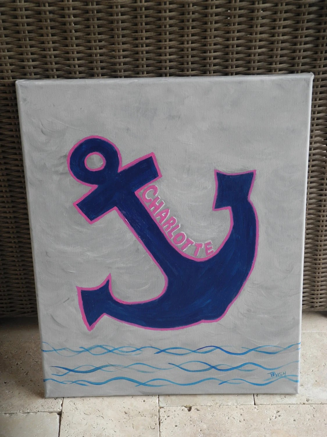 Nautical Paint Colors Nautical Anchor Canvas Painting Customized With Your Colors And Name