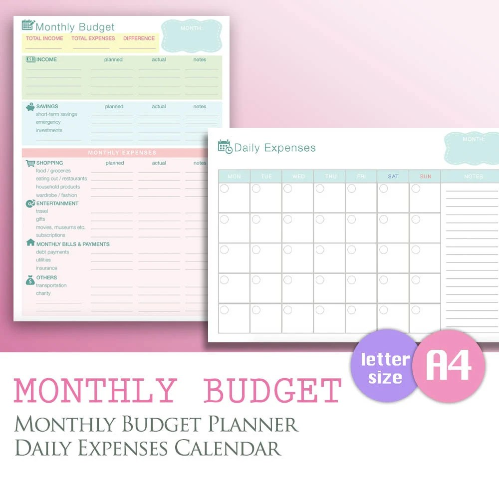 Monthly Expense Calendar towelbars