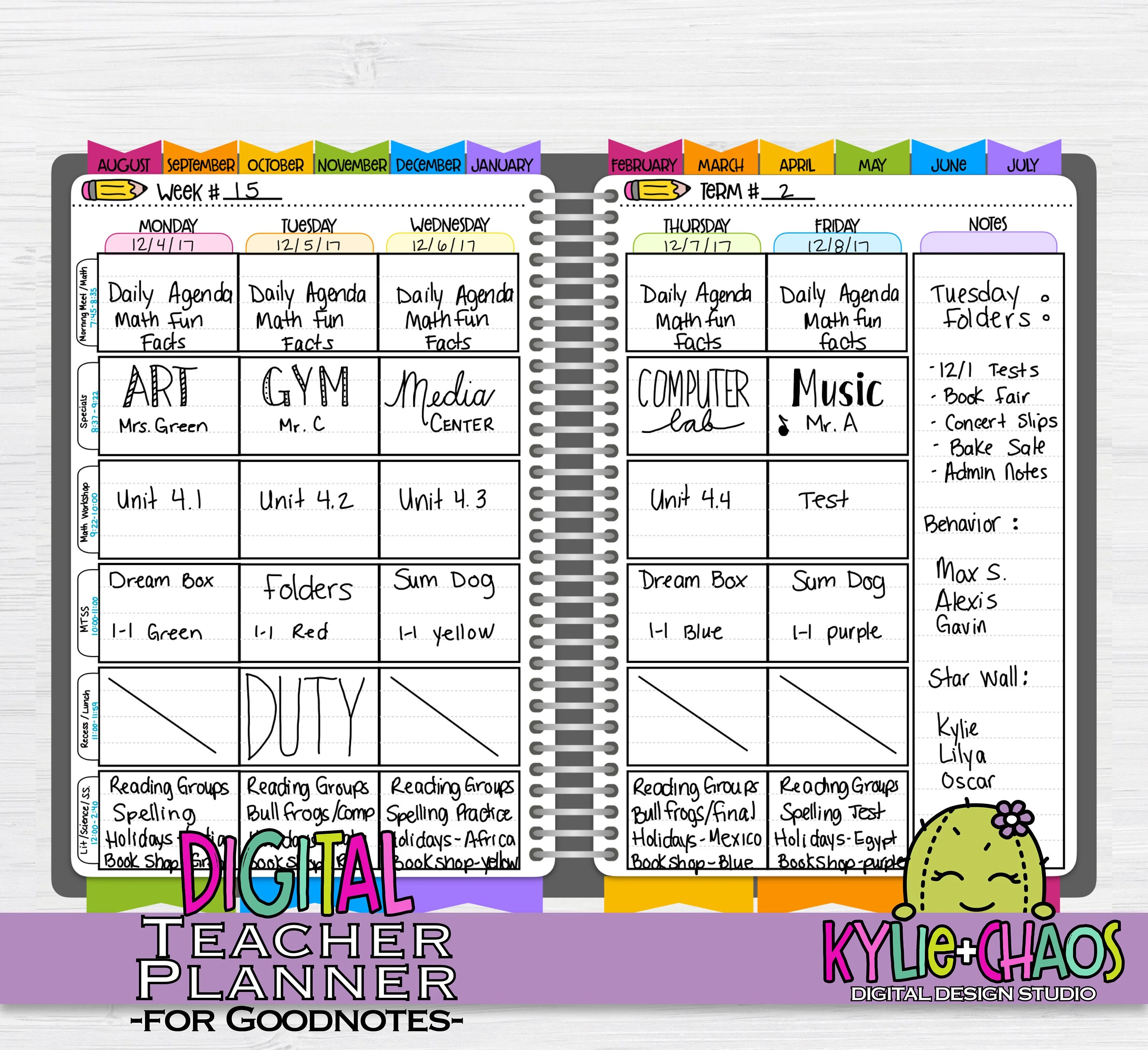 Digital Teacher Planner for GoodNotes on IPhone and IPad with Etsy