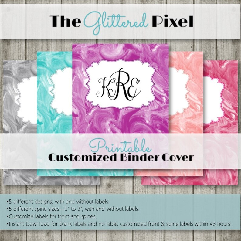 Printable Binder Covers Marble Collection Custom Binder Etsy