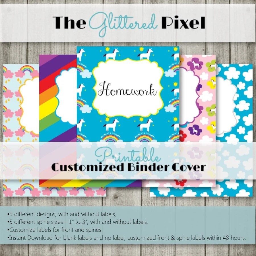 Printable Binder Covers Unicorns and Rainbows Collection Etsy