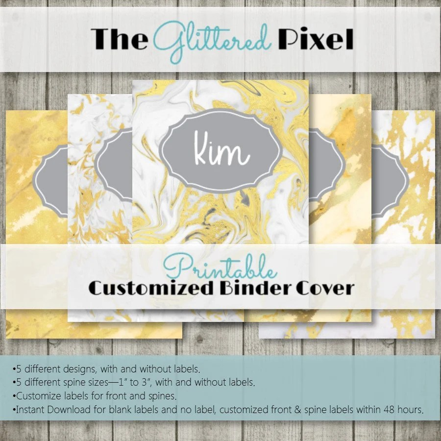 Printable Binder Covers Gold Marble Gold Leaf Binder Etsy