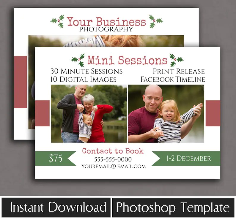 Holiday Mini Session Template Christmas minisessions template Etsy