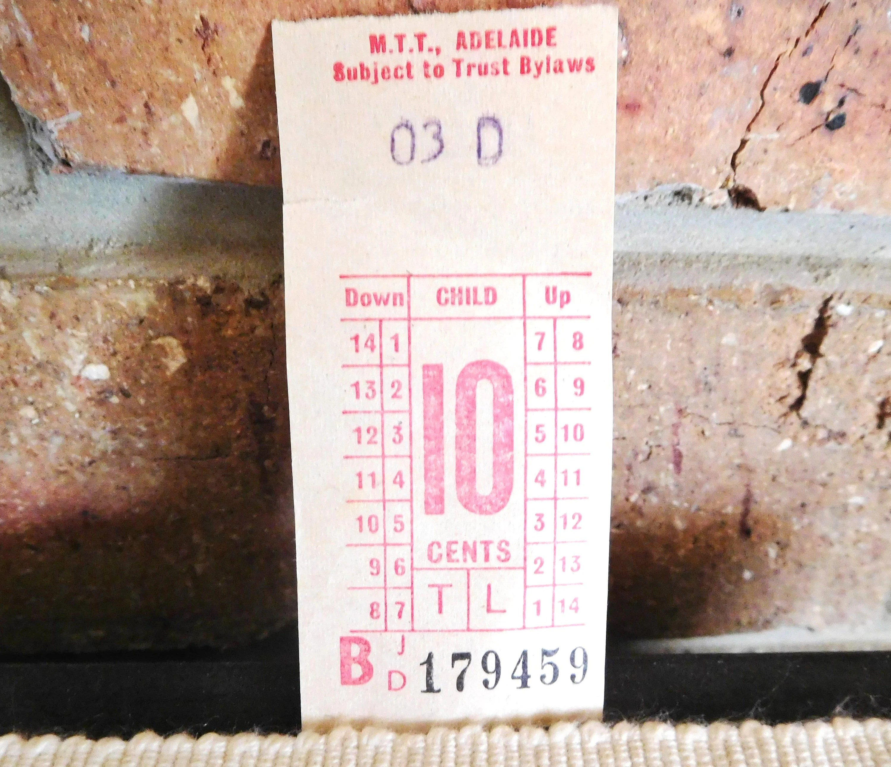 Chalet Leal 1969 Adelaide South Australia Child S Mtt Leal Bus Ticket 10c Collectable