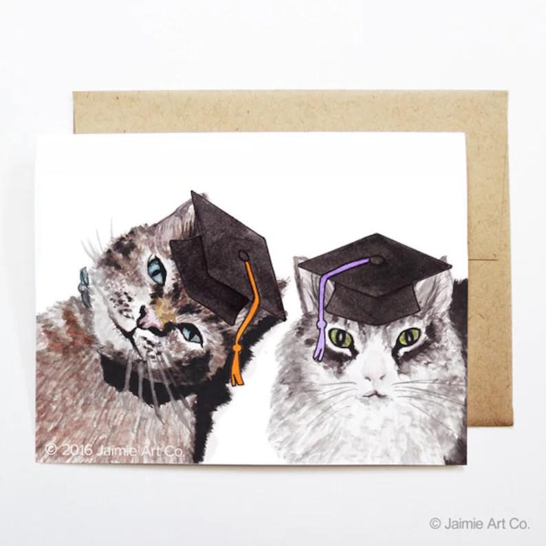 Tarjeta de graduación gatos tarjeta Grad Universidad Etsy