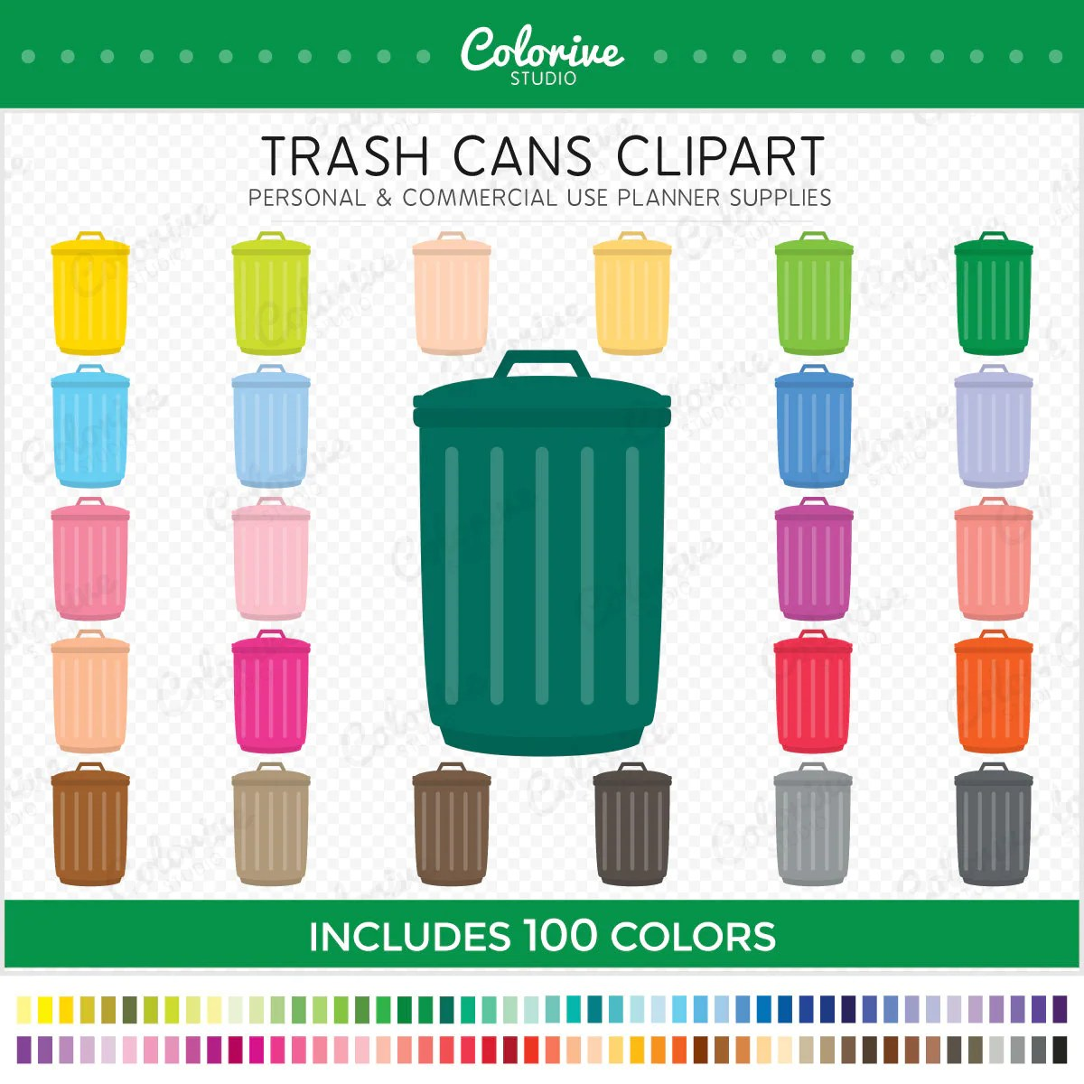 Colorful Garbage Cans Trash Can Clipart 100 Rainbow Colors Garbage Cans Container Recycling Png Illustration Planner Stickers Commercial Use